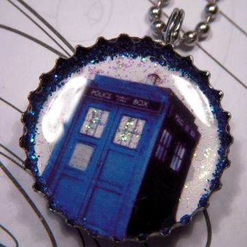 Blue Phone Box Necklace